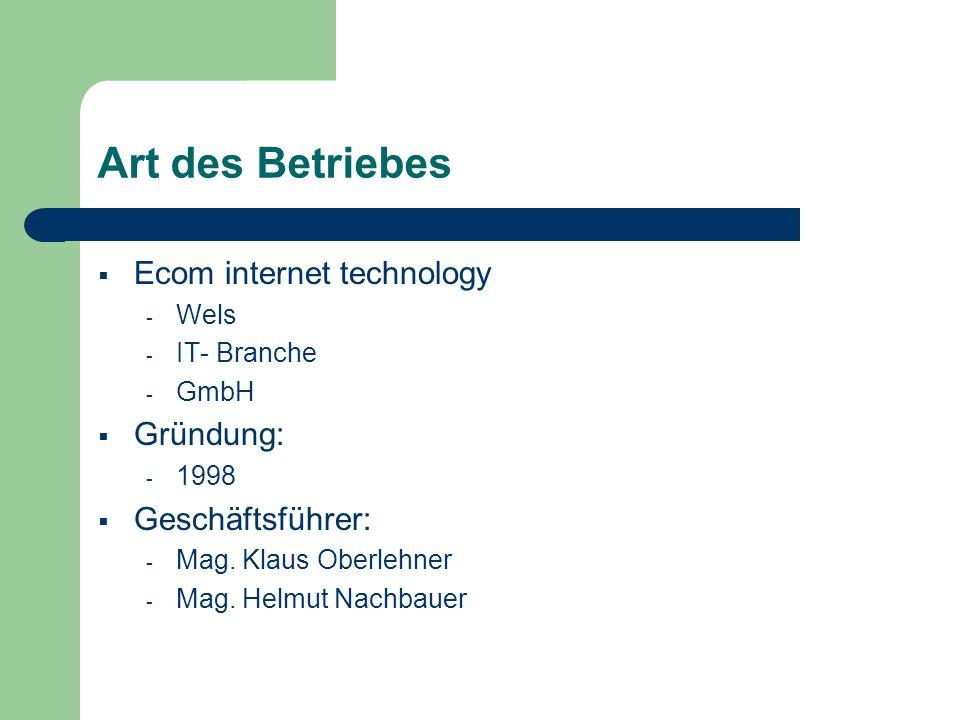 Art des Betriebes Ecom internet technology Gründung: Geschäftsführer: