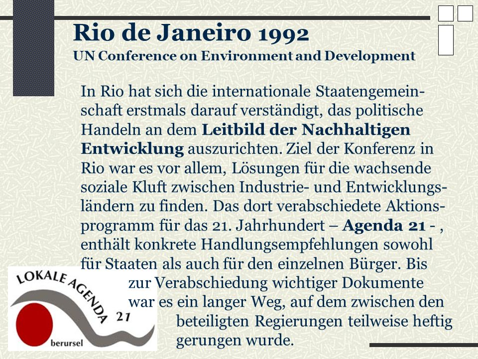 Rio de Janeiro 1992 UN Conference on Environment and Development