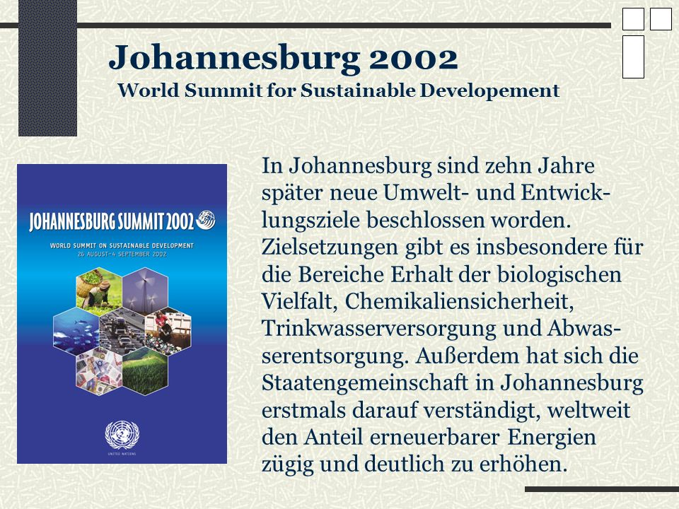 Johannesburg 2002 World Summit for Sustainable Developement