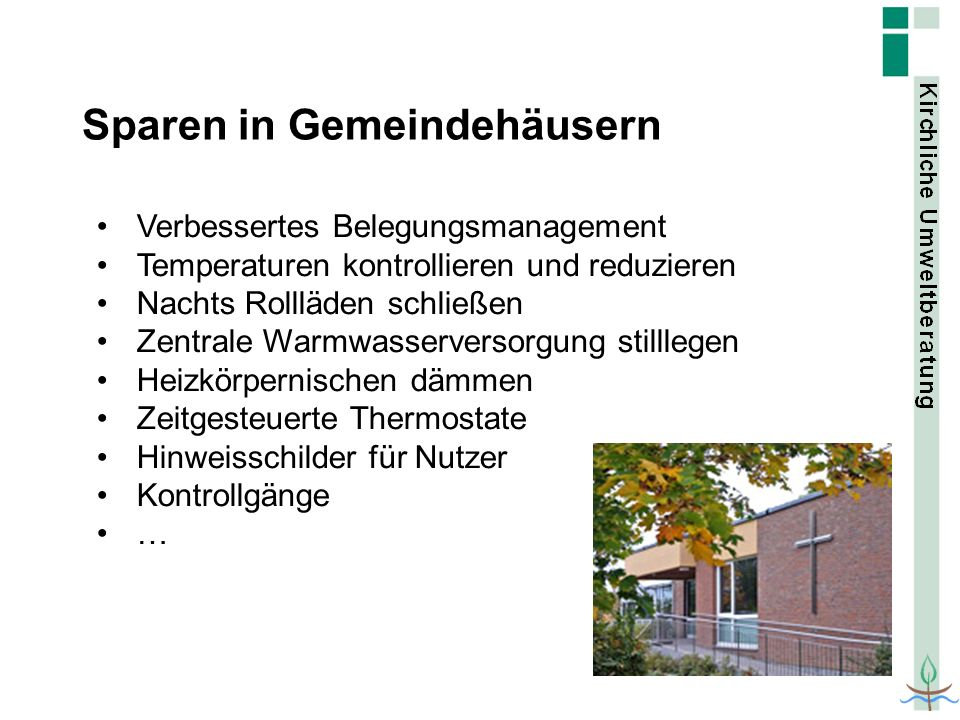 Sparen in Gemeindehäusern