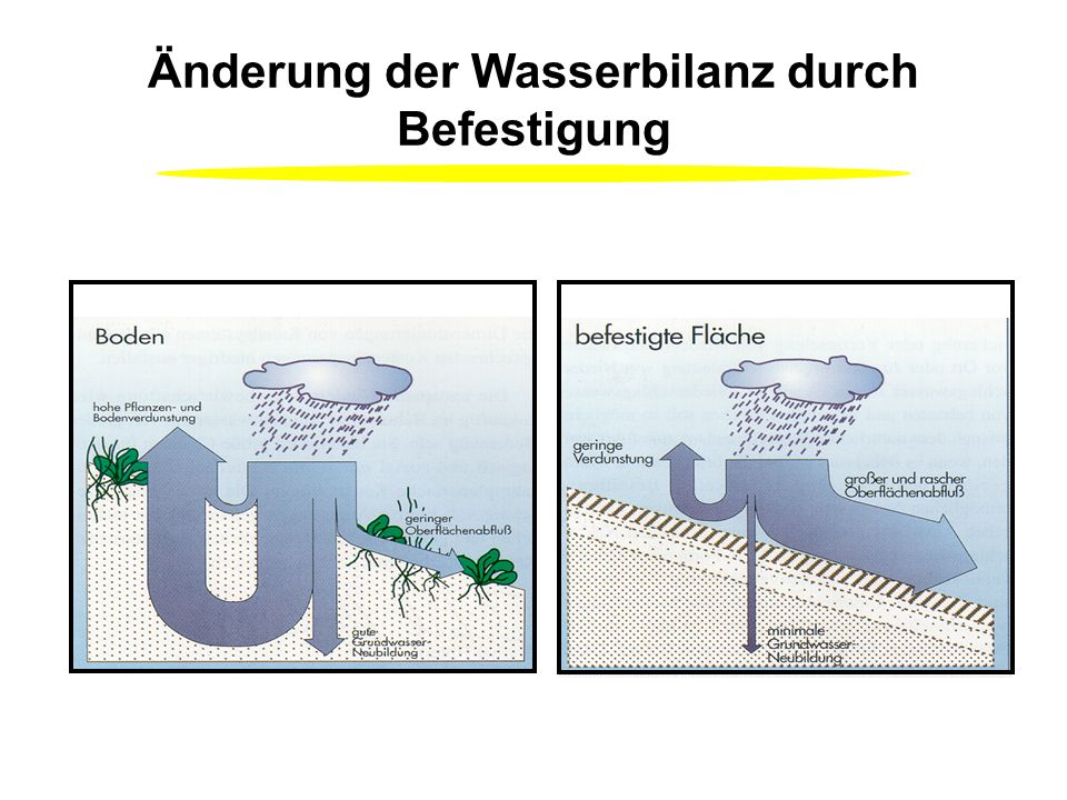 Änderung der Wasserbilanz durch Befestigung