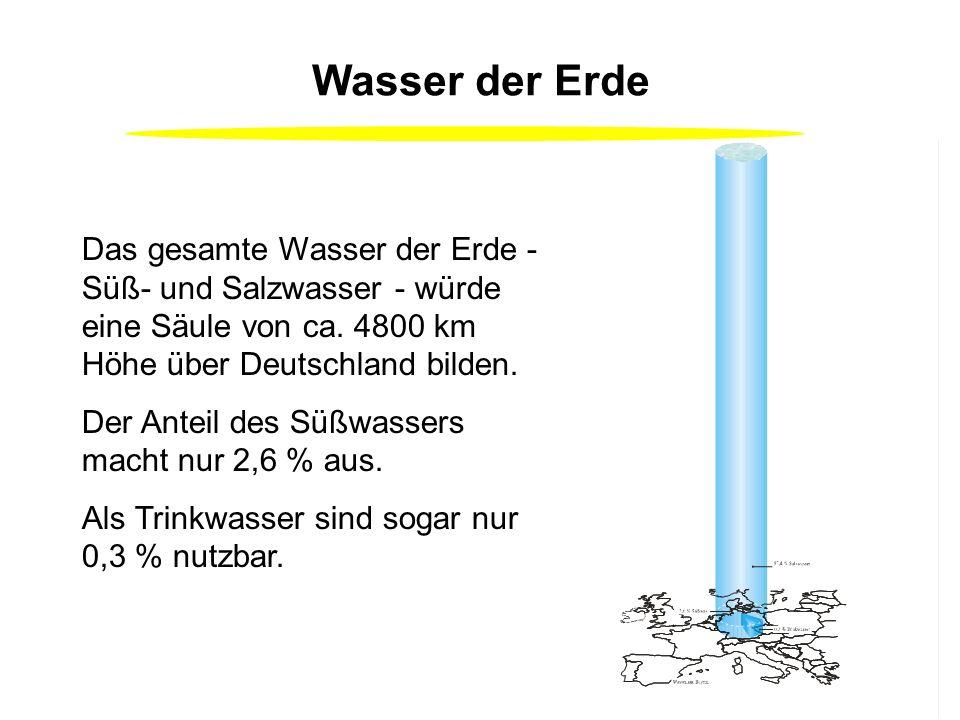 Wasser der Erde Das gesamte Wasser der Erde - Süß- und Salzwasser - würde eine Säule von ca. 4800 km Höhe über Deutschland bilden.