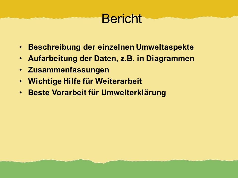 Bericht Beschreibung der einzelnen Umweltaspekte