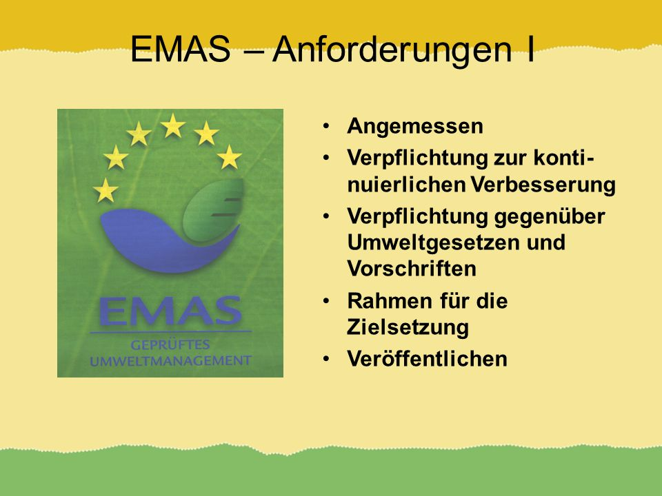 EMAS – Anforderungen I Angemessen
