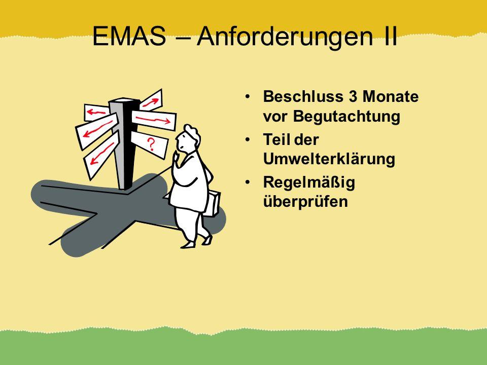 EMAS – Anforderungen II