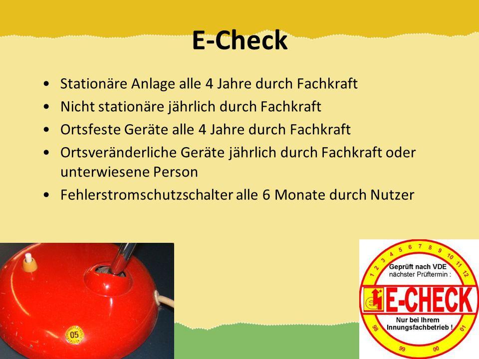E-Check Stationäre Anlage alle 4 Jahre durch Fachkraft