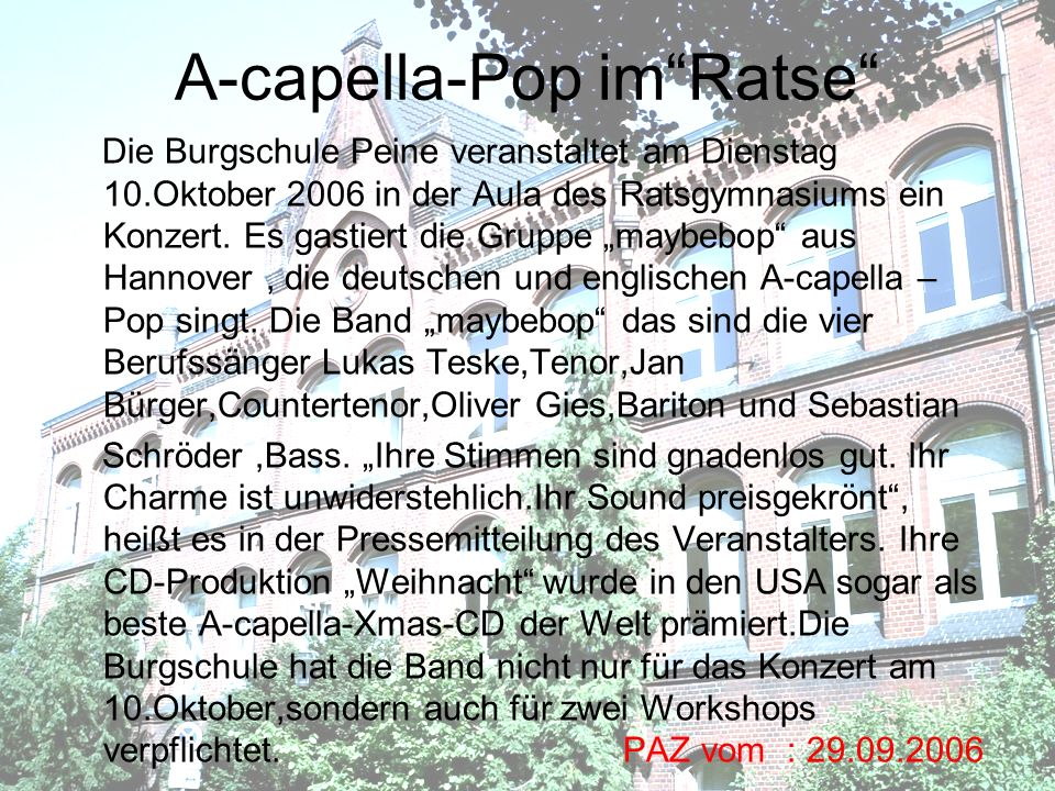 A-capella-Pop im Ratse