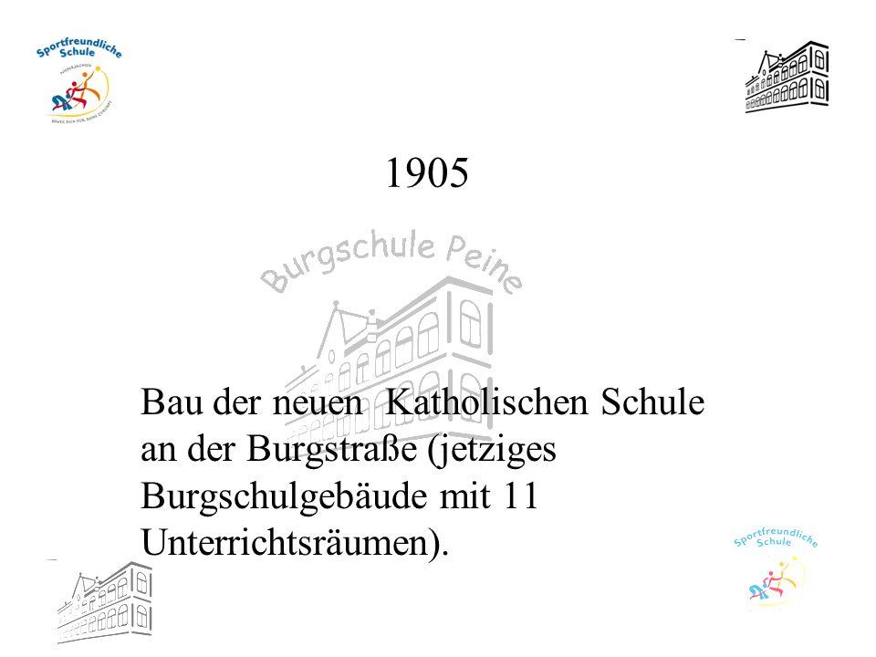 1905 Bau der neuen Katholischen Schule an der Burgstraße (jetziges Burgschulgebäude mit 11 Unterrichtsräumen).