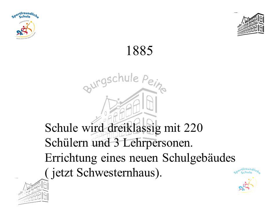 1885 Schule wird dreiklassig mit 220 Schülern und 3 Lehrpersonen.