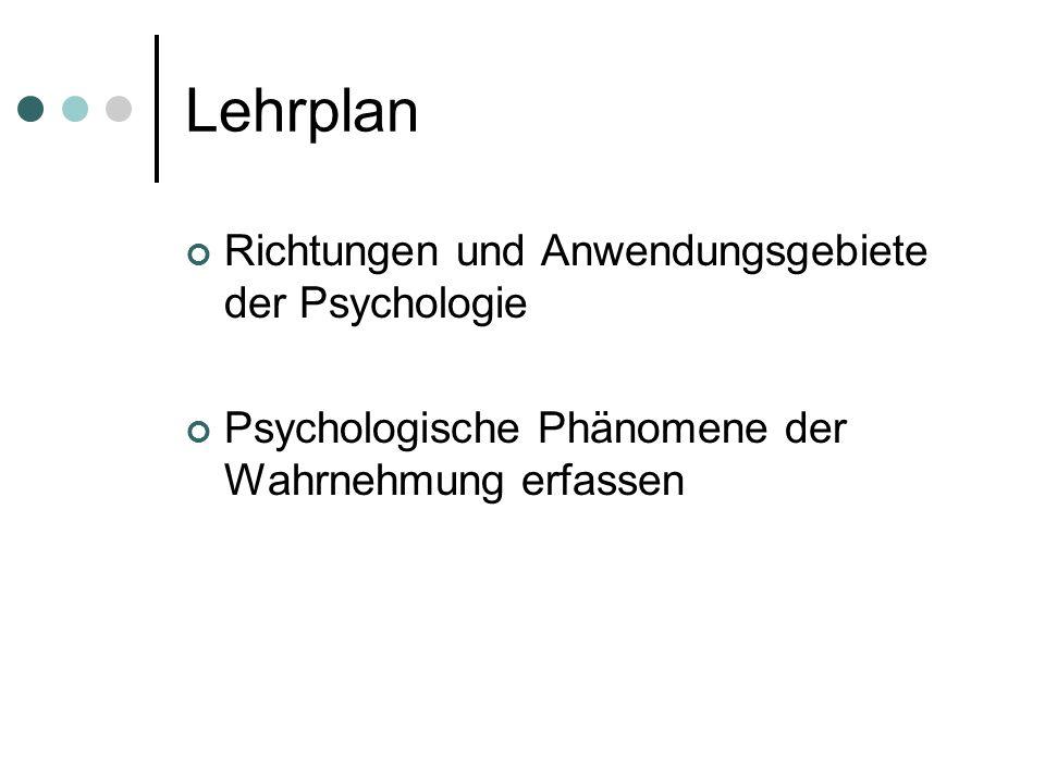 Lehrplan Richtungen und Anwendungsgebiete der Psychologie