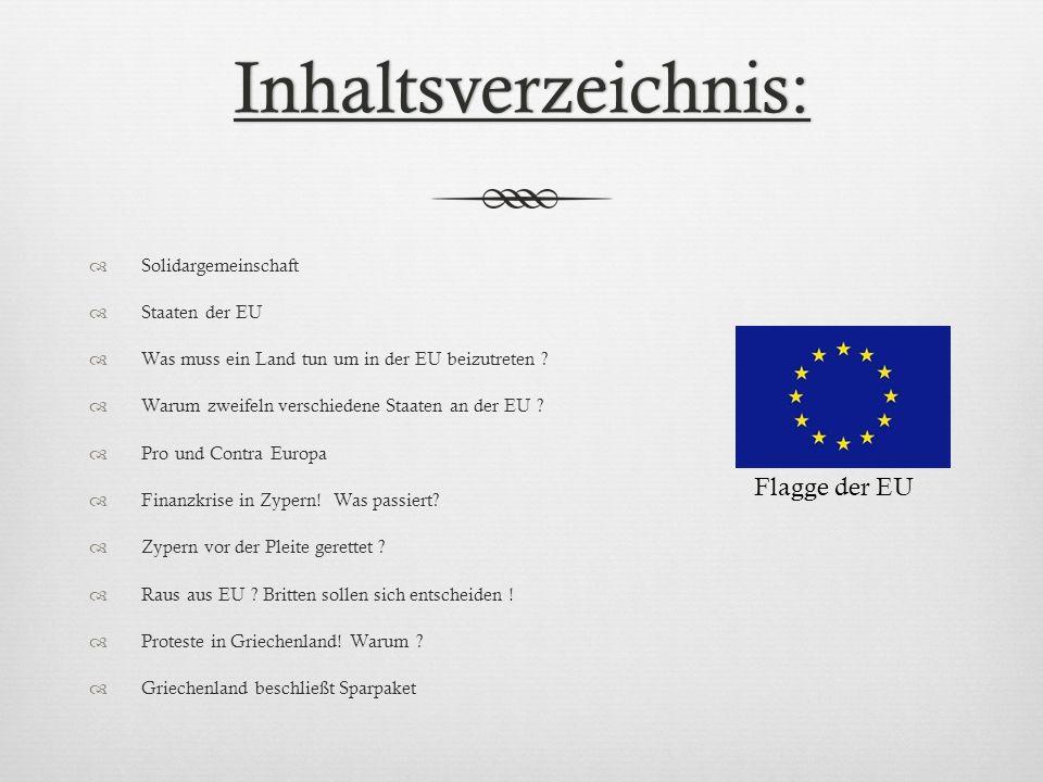 Inhaltsverzeichnis: Flagge der EU Solidargemeinschaft Staaten der EU