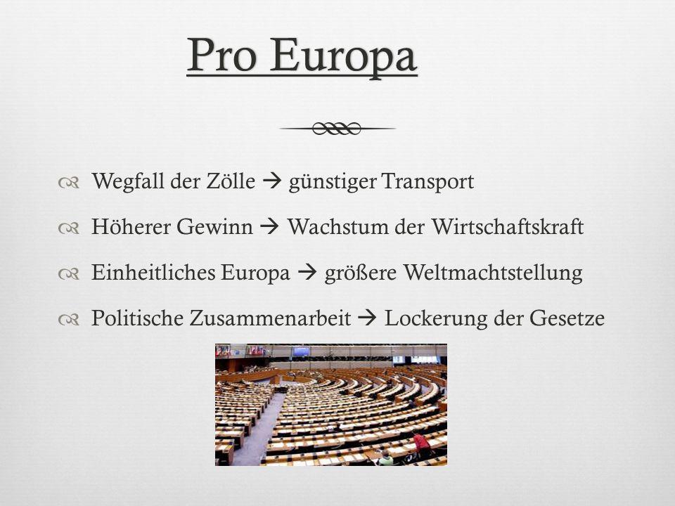 Pro Europa Wegfall der Zölle  günstiger Transport