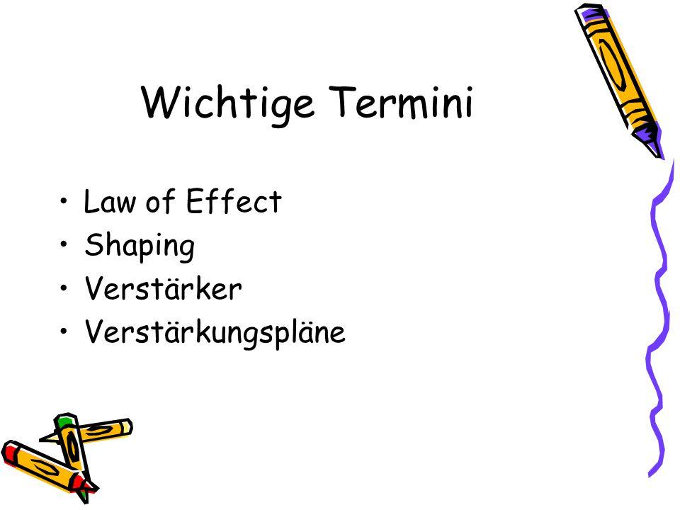 Wichtige Termini Law of Effect Shaping Verstärker Verstärkungspläne