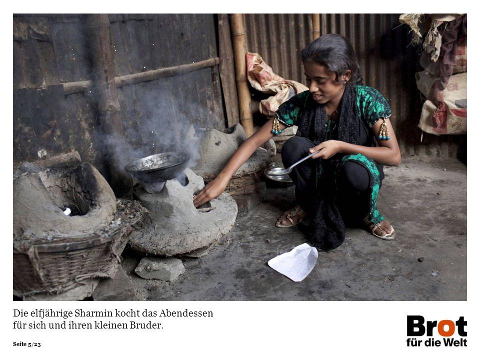 Die elfjährige Sharmin kocht das Abendessen für sich und ihren kleinen Bruder.