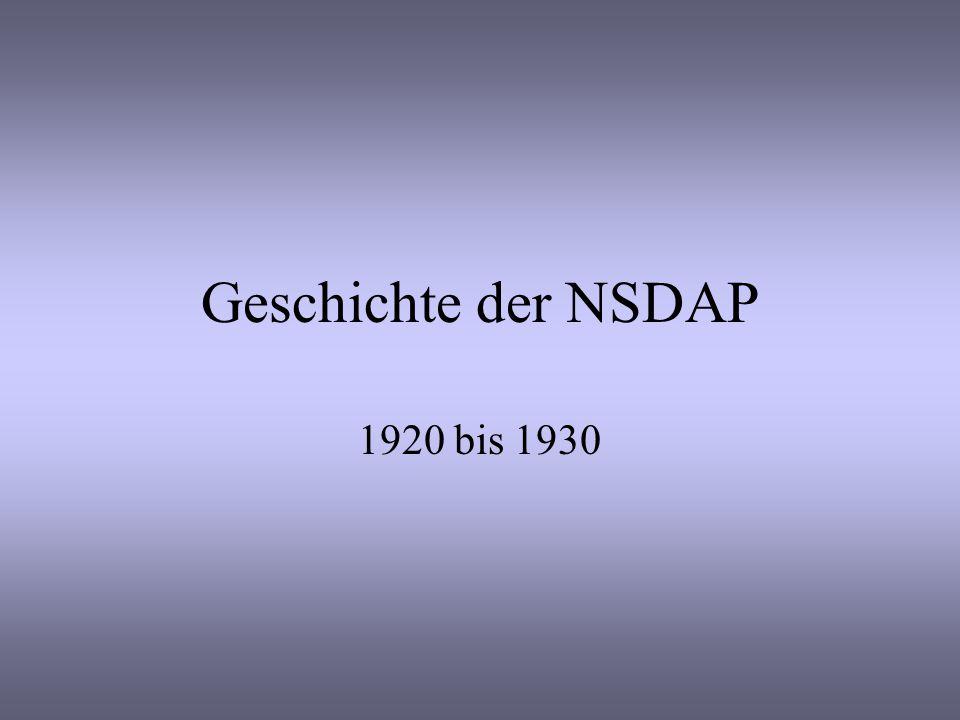 Geschichte der NSDAP 1920 bis 1930