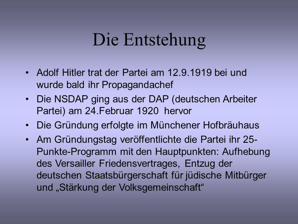 Die Entstehung Adolf Hitler trat der Partei am 12.9.1919 bei und wurde bald ihr Propagandachef.