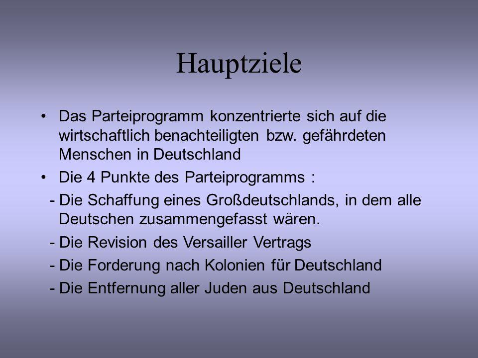 Hauptziele Das Parteiprogramm konzentrierte sich auf die wirtschaftlich benachteiligten bzw. gefährdeten Menschen in Deutschland.