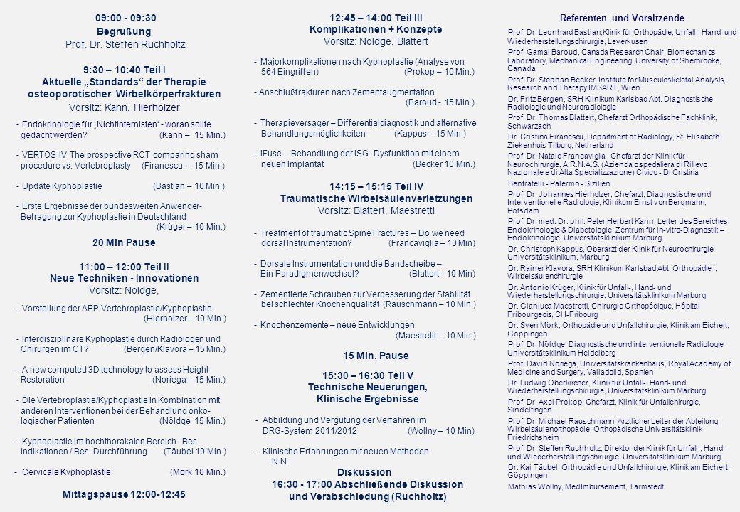 Prof. Dr. Steffen Ruchholtz 9:30 – 10:40 Teil I