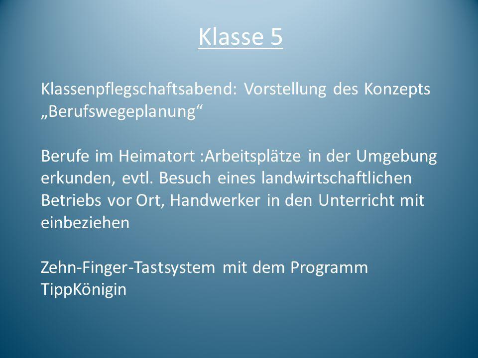 """Klasse 5 Klassenpflegschaftsabend: Vorstellung des Konzepts """"Berufswegeplanung"""