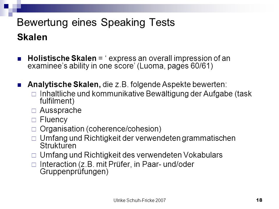 Bewertung eines Speaking Tests