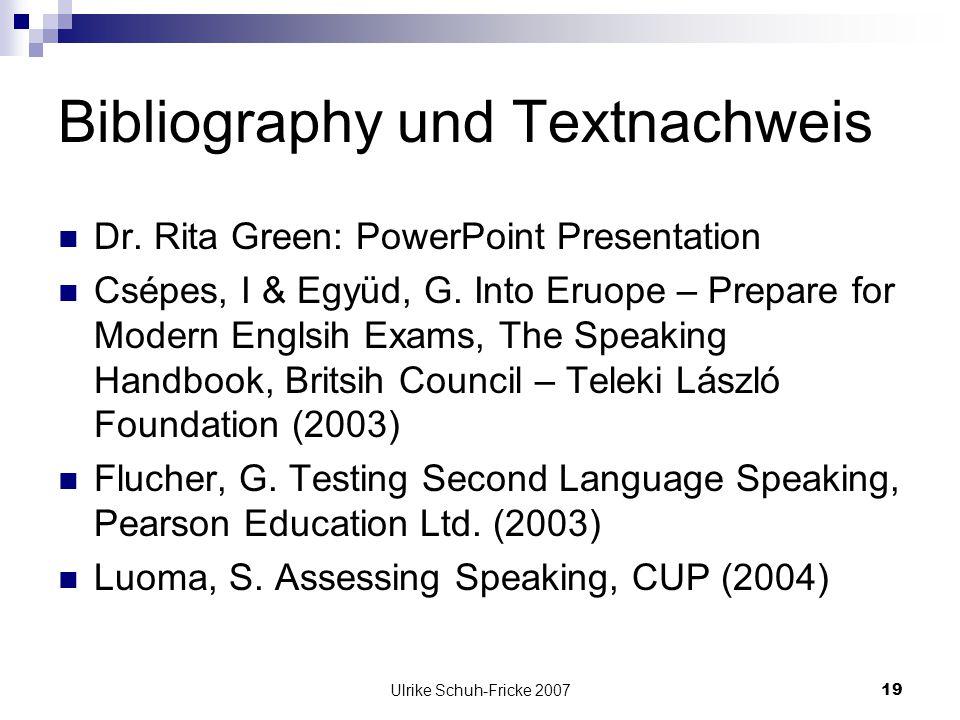 Bibliography und Textnachweis