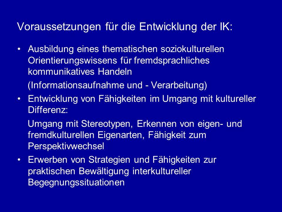 Voraussetzungen für die Entwicklung der IK: