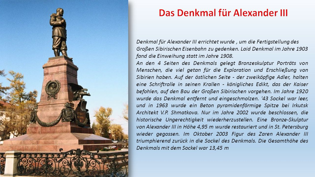 Das Denkmal für Alexander III