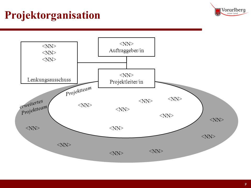 Projektorganisation <NN> Auftraggeber/in <NN>