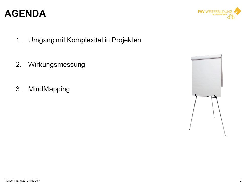 Agenda Umgang mit Komplexität in Projekten Wirkungsmessung MindMapping