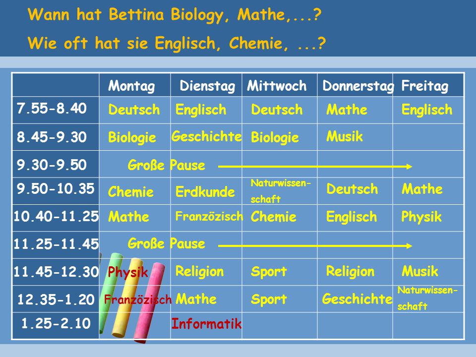 Wann hat Bettina Biology, Mathe,...