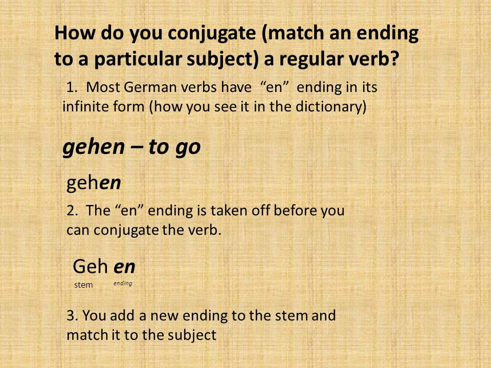How do you conjugate (match an ending to a particular subject) a regular verb