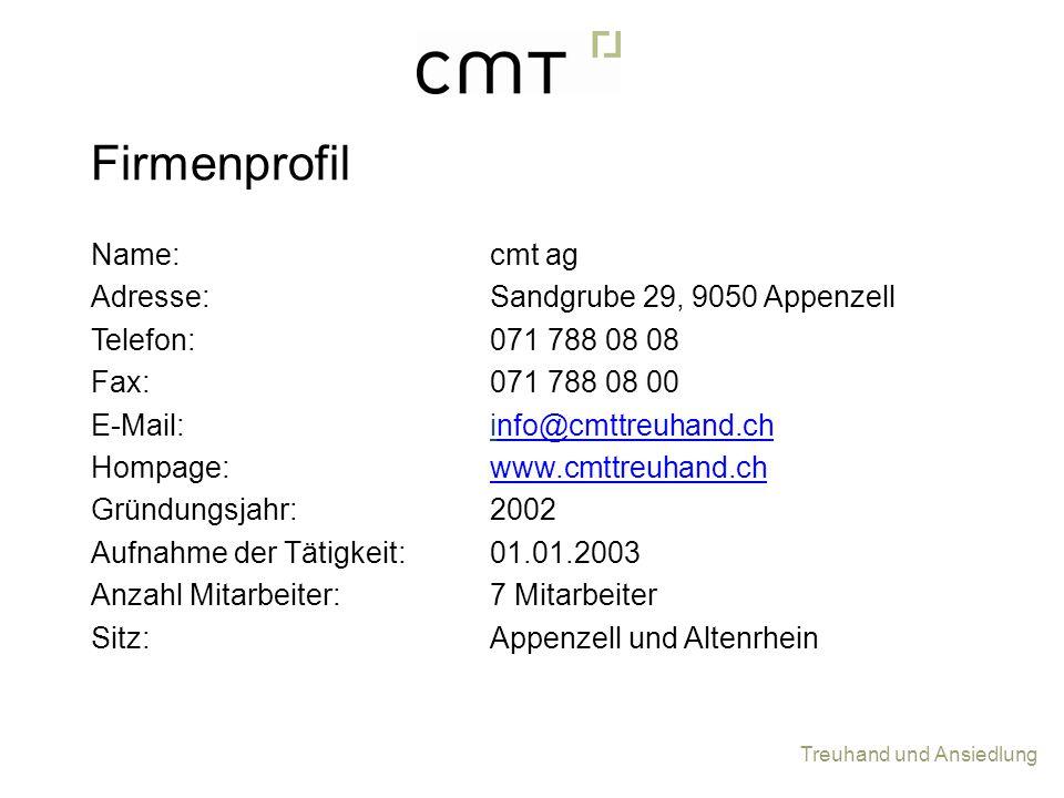 Firmenprofil Name: Adresse: Telefon: Fax: E-Mail: Hompage: