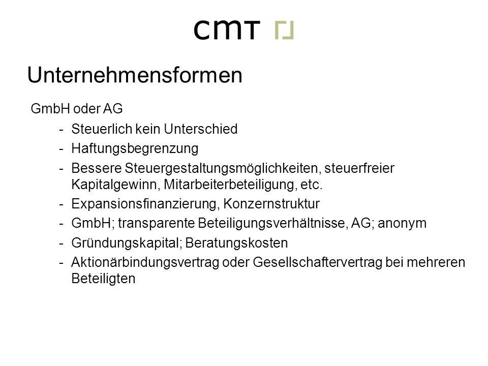 Unternehmensformen GmbH oder AG Steuerlich kein Unterschied
