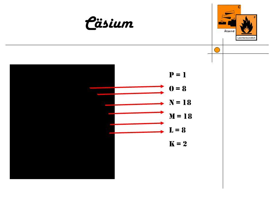 Cäsium P = 1 O = 8 N = 18 M = 18 L = 8 K = 2 P = 2 O = 8 N = 18 M = 18