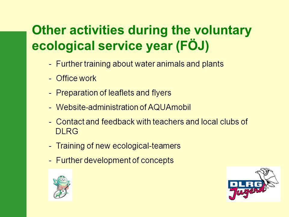 Other activities during the voluntary ecological service year (FÖJ)