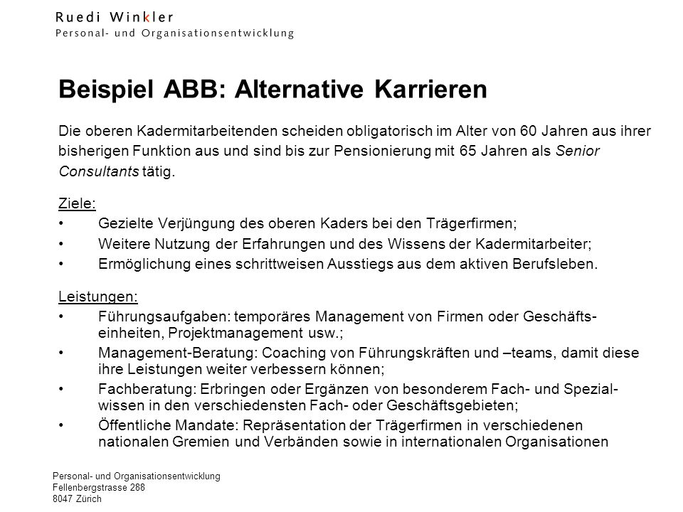 Beispiel ABB: Alternative Karrieren
