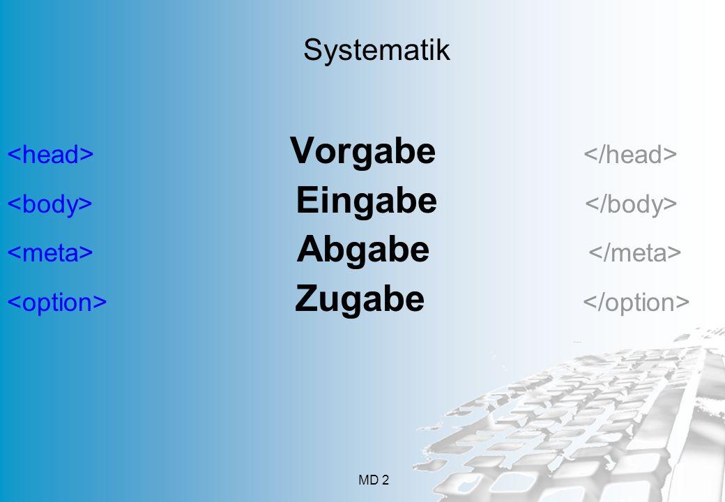 Systematik <head> Vorgabe </head>