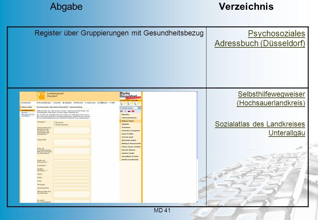 Abgabe Verzeichnis Psychosoziales Adressbuch (Düsseldorf)