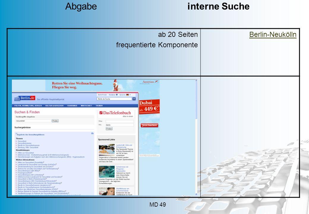 Abgabe interne Suche ab 20 Seiten frequentierte Komponente