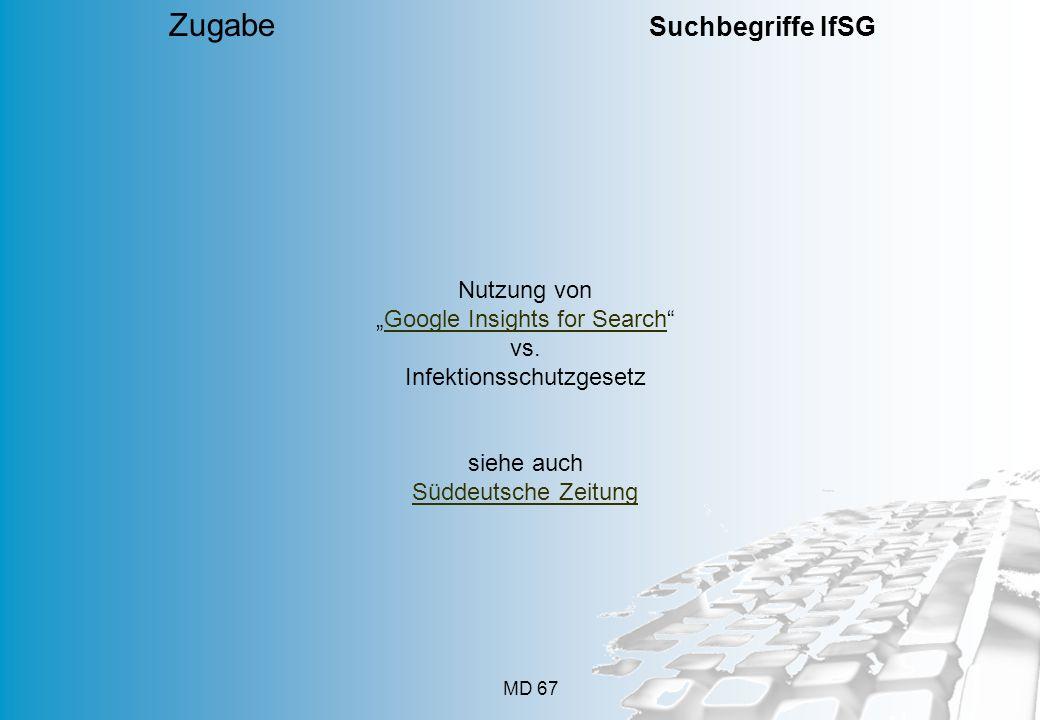 Zugabe Suchbegriffe IfSG