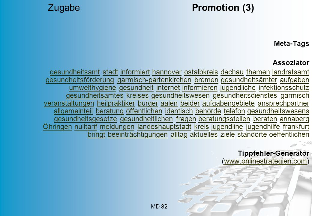 Zugabe Promotion (3) Meta-Tags Assoziator