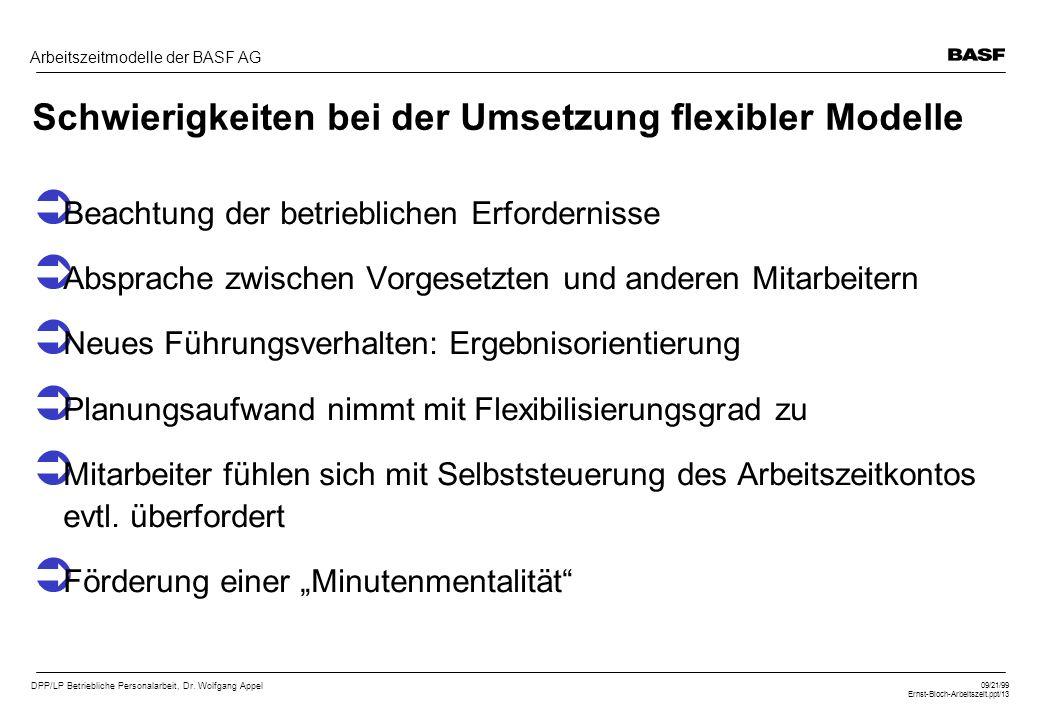 Schwierigkeiten bei der Umsetzung flexibler Modelle
