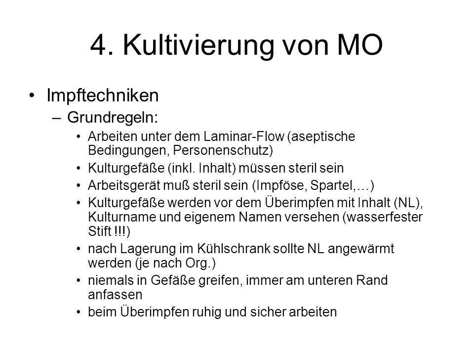 4. Kultivierung von MO Impftechniken Grundregeln: