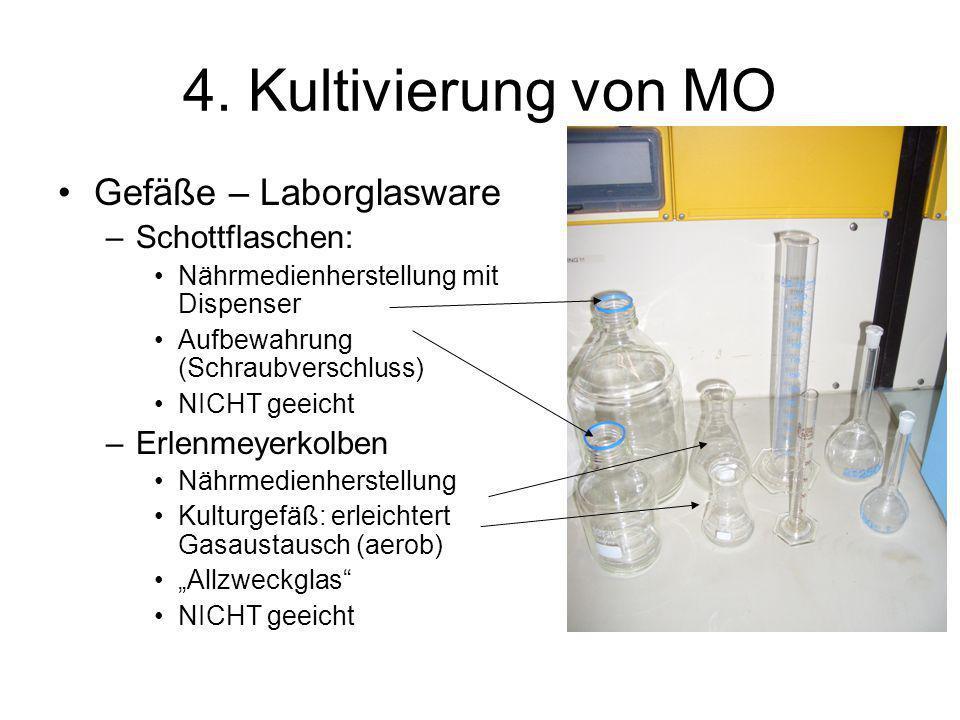 4. Kultivierung von MO Gefäße – Laborglasware Schottflaschen: