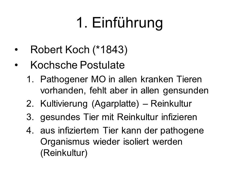 1. Einführung Robert Koch (*1843) Kochsche Postulate