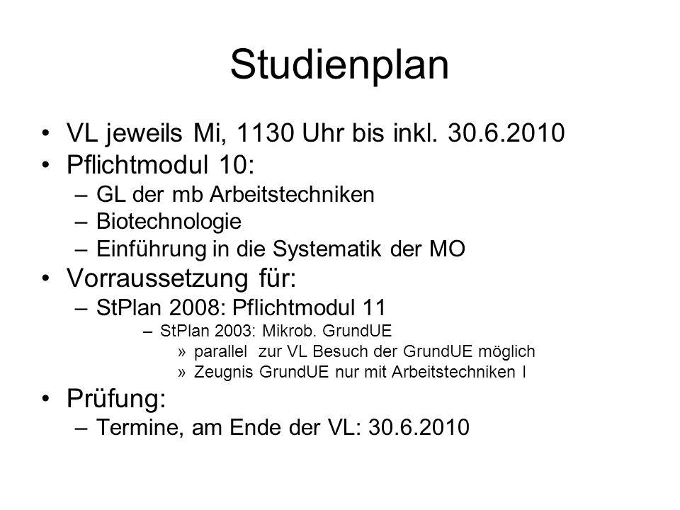 Studienplan VL jeweils Mi, 1130 Uhr bis inkl. 30.6.2010