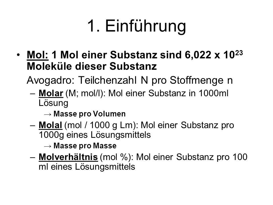 1. Einführung Mol: 1 Mol einer Substanz sind 6,022 x 1023 Moleküle dieser Substanz. Avogadro: Teilchenzahl N pro Stoffmenge n.