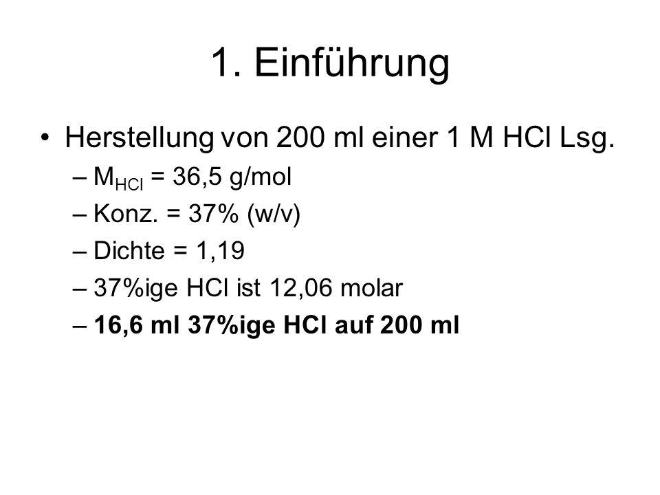 1. Einführung Herstellung von 200 ml einer 1 M HCl Lsg.