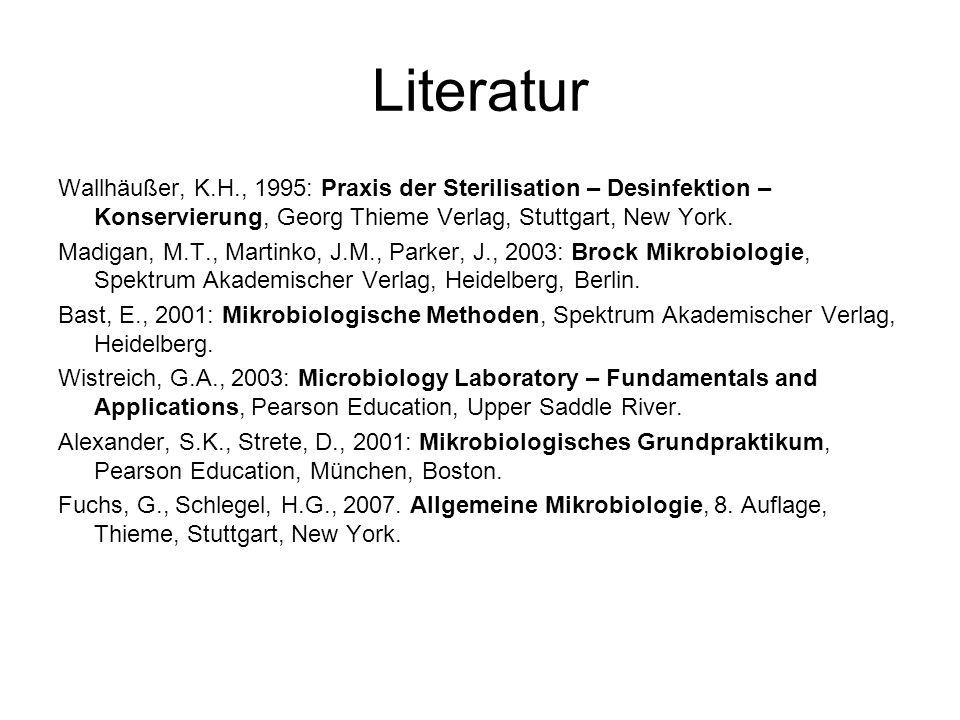 Literatur Wallhäußer, K.H., 1995: Praxis der Sterilisation – Desinfektion – Konservierung, Georg Thieme Verlag, Stuttgart, New York.