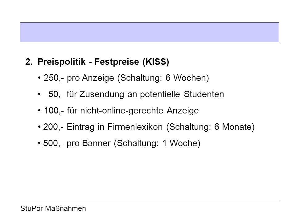 2. Preispolitik - Festpreise (KISS)